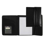 Carpeta portatamano folios negra tamaño A5 320x255 mm con calculadora bloc de notas y cremallera