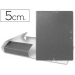 Carpeta proyectos Liderpapel tamaño folio lomo 50 mm cartón gofrado color gris