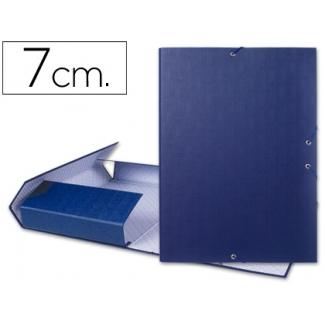 Carpeta proyectos Liderpapel tamaño folio lomo 70 mm cartón forrado color azul