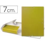 Carpeta proyectos Liderpapel tamaño folio lomo 70 mm cartón gofrado amarilla