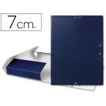 Carpeta proyectos Liderpapel tamaño folio lomo 70 mm cartón gofrado color azul