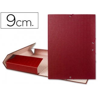 Carpeta proyectos Liderpapel tamaño folio lomo 90 mm cartón forrado color roja