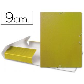 Carpeta proyectos Liderpapel tamaño folio lomo 90 mm cartón gofrado amarilla
