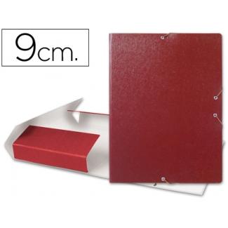 Carpeta proyectos Liderpapel tamaño folio lomo 90 mm cartón gofrado color roja