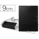 Carpeta proyectos Liderpapel tamaño folio lomo 90 mm cartón gofrado negra