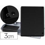 Carpeta proyectos Pardo tamaño folio lomo 30 mm cartón forrado color negro con broche