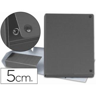 Carpeta proyectos cartón forrado geltex lomo 5 cm color gris