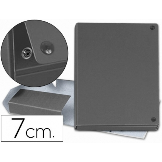 Carpeta proyectos cartón forrado geltex lomo 7 cm color gris