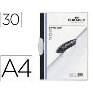 Durable Swingclip - Dossier con pinza lateral y giratoria, A4, capacidad para 30 hojas, color blanco