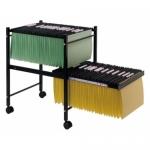 Carrito para carpetas colgante Q-Connect color negro con ruedas y bandeja inferior extraible para carpetas tamaño folio