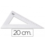Cartabón Liderpapel 20 cm plástico cristal