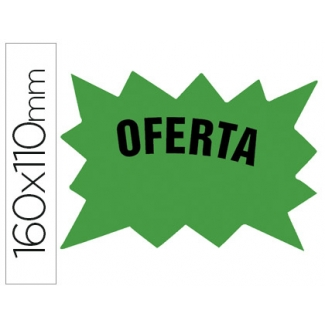 Cartel cartulina etiquetas marcaprecios verde fluorescente 160x110 mm bolsa de 50 etiquetas
