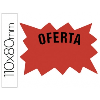 Cartel etiqueta marcaprecios cartulina rojo fluorescente bolsa de 50 etiquetas tamaño 110x80 mm