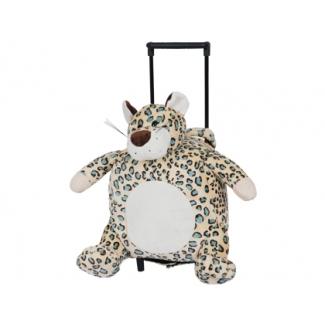 Cartera escolar color infantil mochila peluche con carrito leopardo