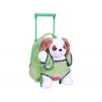Cartera escolar color infantil mochila peluche con carrito verde perro blanco