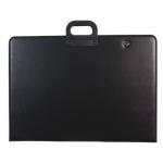 Cartera portadocumentos Q-connect negra con asa con cremallera a1 594x841 mm