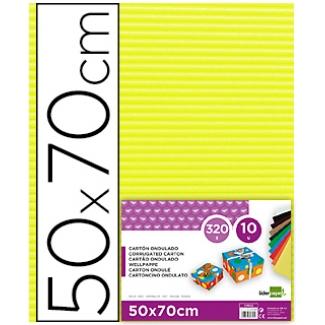 Liderpapel CN08 - Cartón ondulado, pliego de 50 x 70 cm, color amarillo limón