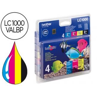 Cartucho Brother referencia LC-1000 (LC-1000VALBP) pack negro cian magenta amarillo