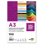 Liderpapel CD03 - Paquete de 100 cartulinas, A3, 180 gr/m2, color celeste