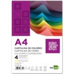 Liderpapel CT03 - Paquete de 100 cartulinas, A4, 180 gr/m2, 4 colores surtidos