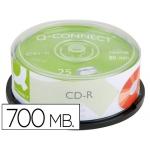 Cd-r Q-connect capacidad 700mb duración 80min velocidad 52x bote de 25 unidades