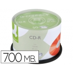 Cd-r Q-Connect capacidad 700mb duración 80min velocidad 52x bote de 50 unidades