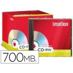 Cd-rw Imation capacidad 700mb duración 80min velocidad 10x-24x regrabable ultra rapido caja 10 unidades