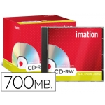 Cd-rw Imation capacidad 700mb duración 80min velocidad 1x-4xregrabable caja 1