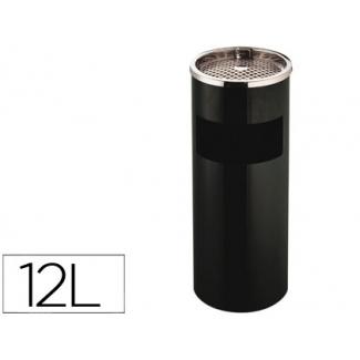 Cenicero papelera metálico Q-Connect color negro 61,5x25 cm con recogecolillas
