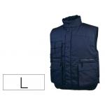 Chaleco Deltaplus multibolsillos con cremallera cintura elástica protege riñones color azul talla l