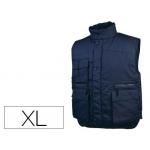 Chaleco Deltaplus multibolsillos con cremallera cintura elástica protege riñones color azul talla xl