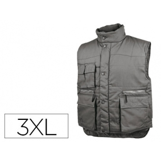 Chaleco Deltaplus multibolsillos con cremallera cintura elástica protege riñones color gris talla 3xl