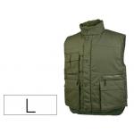 Chaleco Deltaplus multibolsillos con cremallera cintura elástica protege riñones color verde talla l