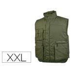 Chaleco Deltaplus multibolsillos con cremallera cintura elástica protege riñones color verde talla xxl