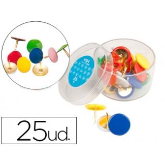 Liderpapel HI04 - Chinchetas, colores surtidos, caja de 25