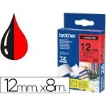 Cinta Brother tze431 laminada negro-rojo 12 mm x 8 mt s