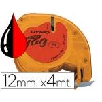 Cinta Dymo 12 mm x4 mt negro/rojo cosmico para maquina letratag