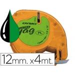 Cinta Dymo 12 mm x4 mt negro/verde acido para maquina letratag