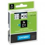Dymo D1 S0720530 - Cinta para rotuladora, 12 mm x 7 mt, impresión negra sobre fondo blanco, poliéster