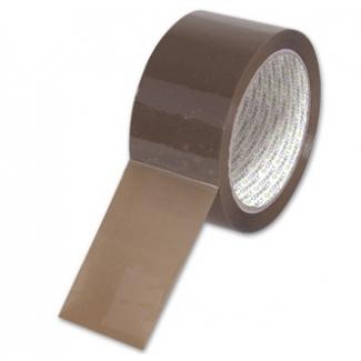 Q-Connect KF04381 - Cinta adhesiva para embalar, 50 mm x 66 mt, bajo ruido, polipropileno, marrón