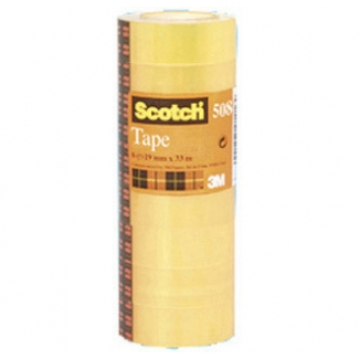 Scotch acordeón 508 - Cinta adhesiva, 12 mm x 33 mt, transparente, pack de 12
