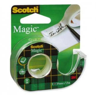 Scotch Magic 1975 - Cinta adhesiva, con portarrollo, 12 mm x 7,5 mt, invisible