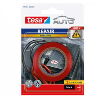 Tesa 59964 - Cinta adhesiva para auto, 15 mm x 10 mt, blíster de 2, rojo y negro