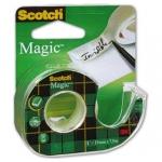 Cinta adhesiva scoth magic invisible clips strip 7,5x19 mm en portarrollo