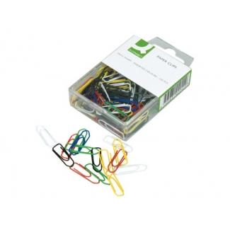 Q-Connect KF02042 - Clips punta pico, colores surtidos, 26 mm, caja de 125