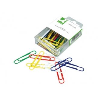 Q-Connect KF02026- Clips, planos, colores surtidos, 50 mm, caja de 30