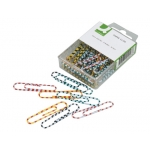 Clips colores rayados Q-connect 50 mm caja de 30 unidades colores surtidos