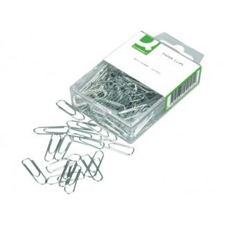 Q-Connect KF02021 - Clips metálicos, punta pico, labiados, niquelados, nº 1 de 26 mm, caja de 125