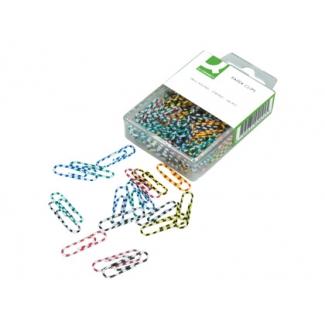 Q -Connect KF02024 - Clips rayados, planos, colores surtidos, 28 mm, caja de 100