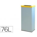 Contenedor papelera reciclaje con tapa abatible y aro interior capacidad 76 litros 81x36,5x26 cm s